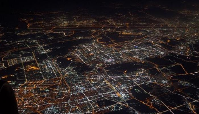 비행기에서 본 서울 야경