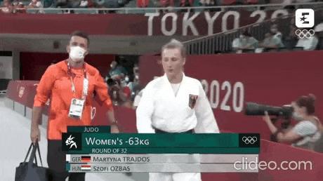 파이팅 넘치는 독일 여자 유도 선수.