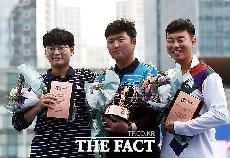 [TF포토] 정몽구배 한국양궁대회 '남자부 1,2,3위 시상식'